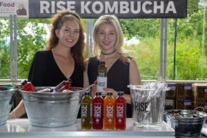 A team from Rise Kombucha was also at the event. Kombucha is a fermented, slightly alcoholic, lightly effervescent, sweetened black or green tea drink. Rise also comes in many different flavors. (Photo by Richard Formicola) https://risekombucha.com/