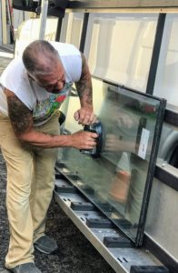 Each of the glass replacements was precut to the exact dimensions. Each glass unit has a thickness of 1/8-inch, which includes two panes per unit with 3/16-inches of air space between the glass. The overall thickness of the unit is 7/16-inches.