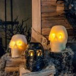 Look at these Wax Skull Candles - wouldn't a trio like this look spectacular on your Halloween table?