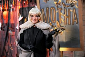 Not to be outdone by my famous guests, I've branched out into film roles myself. Here I'm costumed as B-movie queen and lepidopteran, Motha, complete with platinum-blond wig and a six-foot wide wing-span!