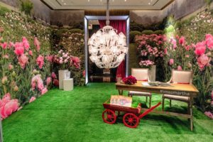 The area designated for our book signing was also covered with a giant image from my book - my beautiful herbaceous peony garden at my Bedford, New York farm. Baccarat even lined the floor with faux grass. This room was also decorated with a giant Baccarat crystal chandelier. (Photo by Benjamin Lozovsky for BFA)