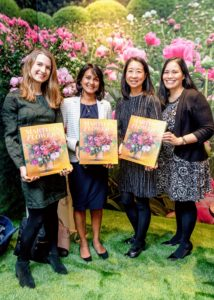 "These happy guests and owners of ""Martha's Flowers"" deluxe edition include Natasha McCabe, Roshma Azeem, Audrey Chun, and Veronica Rivera. They are all from the Center for Living. (Photo by Benjamin Lozovsky for BFA)"