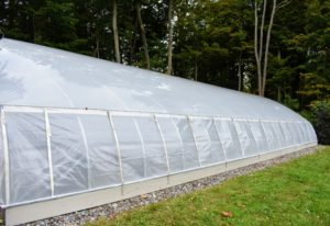 Here is the finished hoop house - ready for storing my tropical plants. This greenhouse works by heating and circulating air to create an artificial tropical environment. It includes three fans and a propane fueled heater. It is an excellent way to ensure my tropical specimens survive the cold winters of the Northeast. How do you keep your plants protected during the cold season? Share your comments below.