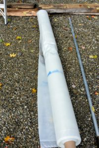 Each roll is placed on a long steel rod for easier installation.