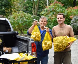 Here are Fernando and Ryan moving all these precious flowering bulbs. I usually order them in batches of 20, 50, 100, 500, and a thousand - it's always so exciting to see them arrive.