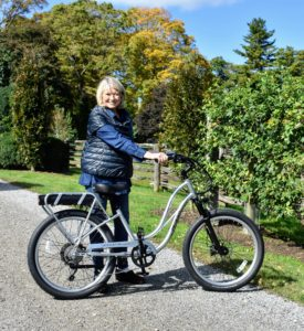 Here I am with my new Pedego Interceptor Platinum Edition e-bike - out on the carriage road in front of my home. I know I will have lots of fun riding it - with all the proper safety gear, of course. For more information on these Pedego bikes, go to the web site. And have fun bike riding! https://www.pedegoelectricbikes.com/
