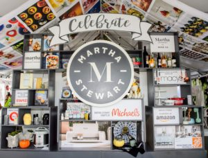 At the entrance to the Pavilion is the Wall of Martha featuring our partners, including Macy's, Michael's, The Home Depot, QVC, Martha Stewart Wine Co., Martha & Marley Spoon, and more. (Photo by Brenton Ho for MGM Resorts International)