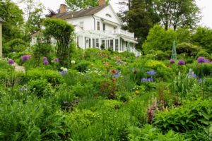 "Almost all of the first five seasons of my ""Martha Stewart Living"" show were taped in and around my Turkey Hill home in Westport, Connecticut. Here's the house and the garden in bloom."