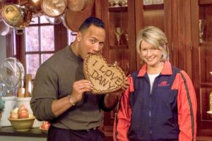"Here I am with another fun celebrity guest. Dwayne ""The Rock"" Johnson helps me cook up a batch of man-sized Chocolate Chip Cookies for Valentine's Day. Afterwards, we did a few crunches to work off all the cookies!"