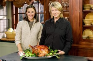 And we've also invited many celebrities - Jennifer Garner made her first appearance on one of our programs more than 15-years ago. Here we are in Studio A with the Cranberry Glazed Turkey with Cranberry Cornbread Stuffing we made together.
