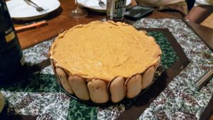 Cheryl made her rendition of pumpkin charlotte - a creamy, no-bake dessert that's perfect for entertaining. Instead of the traditional lady fingers, she uses Milano cookies. It is always a big hit.