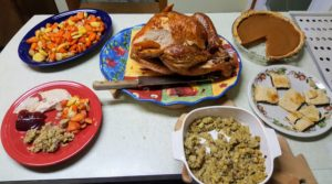 Cheryl's second Thanksgiving was for one on Thanksgiving Day - she enjoyed every bit of her feast. She's still working on some of the leftovers.