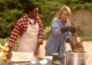 Deep Fried Turkey: Personal chef, Rina Prentice, provided this recipe, which includes safety tips for preparing food outdoors. Before dropping a whole turkey in peanut oil, the turkey is rubbed with hand-ground spices and Creole seasoning.