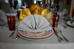 I love using the beautiful antique turkey plates I've collected over the years from tag sales and fairs. These were made in the early 1900s. I originally purchased the gold colored turkeys in papier mache, and then gilded them with faux gold leaf.