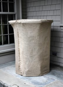 This is an antique cement birdbath in the courtyard of my house. It is also covered in the same way – so neat, tidy and snug.