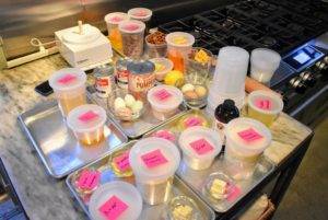 Molly, and our test kitchen crew, always prepares all the ingredients before baking. Sticky notes are used to identify everything - it is a must especially when using a lot of different recipes.