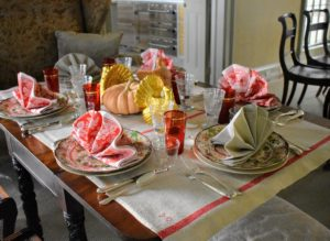 "Here's a view of the smaller table in my ""faux bois"" dining room. This table for six was also set with pretty turkey plates."
