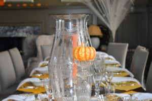 The beautiful pumpkins, grown right here at my farm, add such a warm and colorful touch to the table scape.