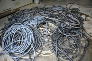 All the hoses are gathered, drained, recoiled and then stored away for the season.