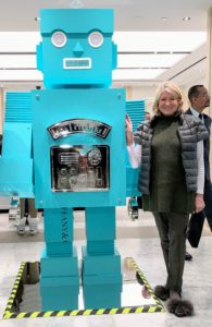 This iconic shade of blue is a dead giveaway for the location of this photo - I am standing at Tiffany's with the signature robot made of Tiffany blue boxes. I took my grandchildren, Jude and Truman, to the store's Blue Box Cafe for brunch.
