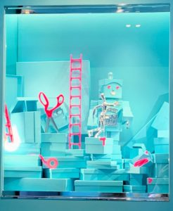 Here is one of the windows at the famous store - the scene shows the construction of the robot out of many blue boxes.