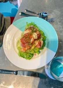 The Blue Box Cafe is located on the 4th floor of the New York City flagship store. After perusing the entire menu, Jude and Truman both selected the Fifth Avenue Salad, which is Maine lobster, avocado, grapefruit, and poppyseed dressing - they loved it.