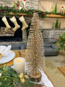 Bottlebrush trees also add such a nice touch to any table or mantel during the holidays. With metallic tops and fir wood bases, these trees come in a set of three - gold, green and silver. And they look great next to my Smooth Wax Pillar candles. Each of these candles gives you at least a thousand hours of glow time per battery pair.