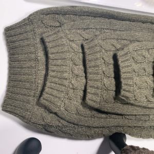 My Cable Knit Dog Sweaters come in this olive, a brown and a navy. And they are available in many sizes to fit small toy breeds to large breeds. Any canine companion will stay cozy and comfortable in this cable knit sweater.