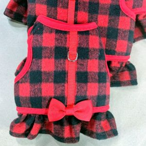 Here is the Buffalo Check Dog Harness for girls - with a bow on the back.