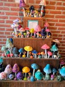 Many of the outdoor mushroom garden ornaments are handcrafted and glazed in the United States by ceramic artisans.