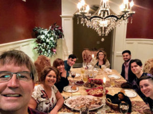 Here's the family seated for this all-important American meal - but first the yearly selfie. Dorian is joined by her brother, David, Linda, David Jr., Alexandra, Brian, James, and Michael.