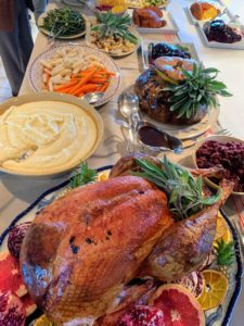 Chef Pierre Schaedlin and I always collaborate on my entertaining menus. I set up a colorful, long buffet in the kitchen for guests to serve themselves. There were many wonderful creations from which to choose. This year, I served three turkeys, lots of traditional Thanksgiving dishes and roasted vegetables.