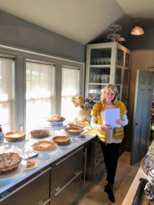 I was so pleased with all the pies we baked - many made using my perfect pie crust recipe. Here I am in front of my servery counter where I love to display the pies for all to see.