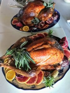 One turkey was cooked with cheesecloth, one was cooked in parchment paper and the third was spatchcocked. All the recipes can be found on my web site at marthastewart.com