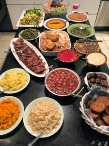 And here is the delicious spread of Thanksgiving dishes.