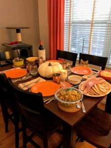 Look closely to see who is already sitting at the table ready for dinner - Danielle's very handsome cat, Pepper.
