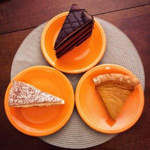Danielle picked up a sampling of delicious holiday treats from Martha's Country Bakery - another Martha. They include chocolate layer cake, pumpkin pie, and apple crumb cheesecake.