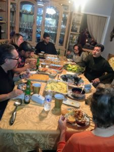 Cathryn celebrated the holiday with 15 family members. Here's the first half of the family sitting down to eat. With so many, the family ate in shifts.