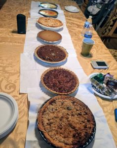 Look at all the beautiful pies - all of them homemade. They include apple pie, chocolate pecan pie, chocolate pudding pie, pumpkin pie, Dutch apple pie, and flan. Cathryn's sister, Ashley, made the majority of the pies along with their mother, Colleen and sister-in-law, Lola.