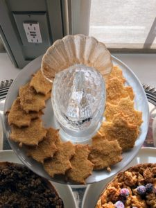 On a cake stand, I served maple leaf sugar cookies with maple sugar on top.