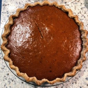 Anduin Havens, our video creative director, made this pumpkin pie. She made it with molasses and cloves like her Grandma.