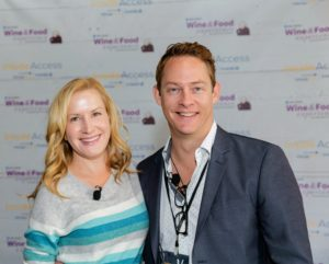 The tasting was run by sommelier, Chris Hoel. Here he is joined by actress, Angela Kinsey. (Photo by Sarah Golonka)