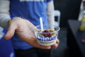 Guests also tried cups of kefir and fruit from the Lifeway booth. (Photo courtesy of LAWFE)