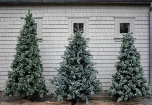 Just a few feet away on the other end of this building - a trio of my pre-lit Christmas trees from The Home Depot. We used these trees for a recent shoot here at the farm, and then I decided they would look spectacular in this area, so guests see them when they visit.