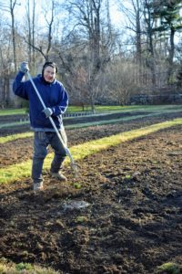 Here is Carlos raking the tilled soil, so it looks tidy.