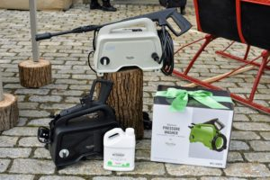 And here is my 1450 MAX PSI 1.48 GPM 11-Amp Electric Hand-Carry Portable Pressure Washer. This makes such a wonderful gift for anyone! These portable pressure washers come in black, slate and bay leaf green.