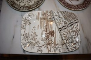 I decided to serve lunch on brown Transferware platters. This beautiful platter was gifted to me by my friend, Kathy Sloane.