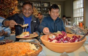 Here's Pete and Phurba Sherpa starting off our buffet line, It was so nice to see everyone fill their plates - one, two and sometimes even three times.