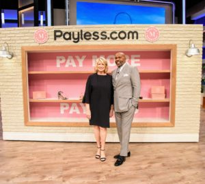 "Steve Harvey and I had such a fun time talking about my new ""Martha Everyday"" shoe line with Payless. I love the set they created for our segment."