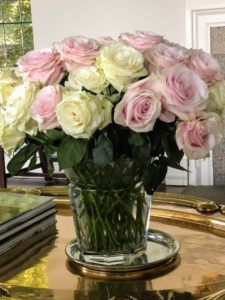 I love this combination of cream and pink roses - they look so stunning with their dark green foliage.